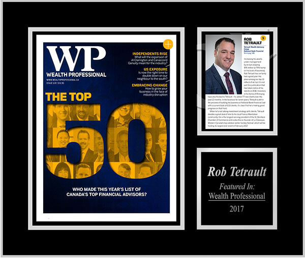 Rob Tétrault places in the Wealth Professional Top 10
