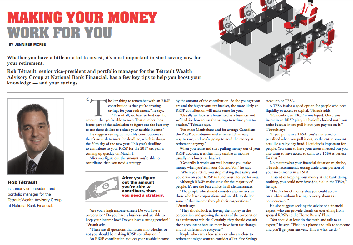 Rob gives advice on Taxes & RRSPs in the Winnipeg Free Press