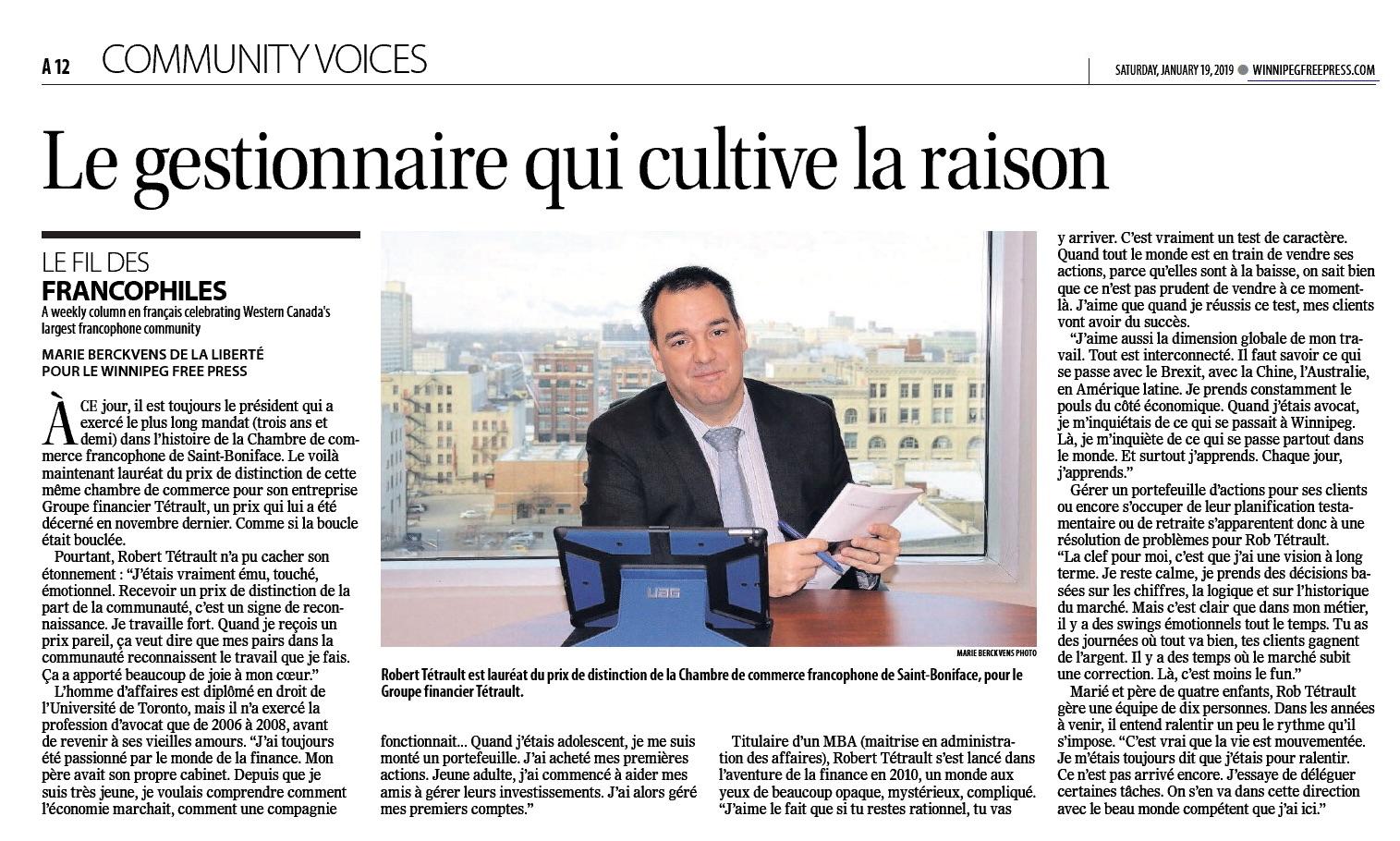 Rob Tetrault est lauréat du prix de distinction de la Chambre de commerce francophone de Saint-Boniface, pour le Groupe Financier Tétrault - 2019