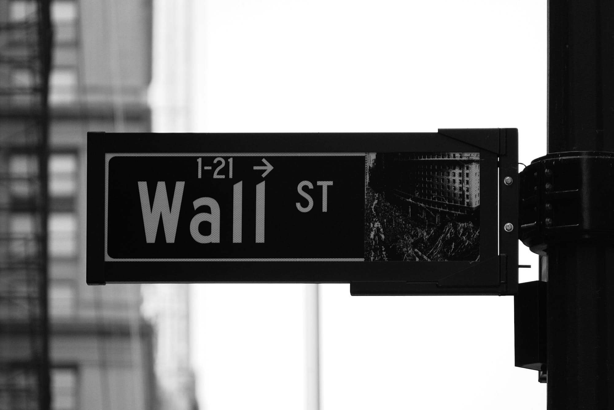 Wall St Sign representing Growth vs Value